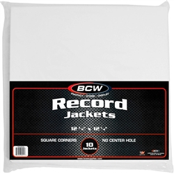 50 Bcw Paper Record Sleeves 33 Rpm - Square Corners - No Hole
