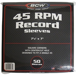50 Bcw Paper Record Sleeves 45 Rpm - Square Corners - With Hole