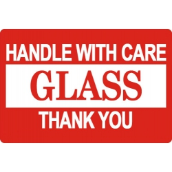 """10000 2 X 3"""" Glass Handle With Care Shipping Sticker Labels"""