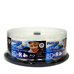 100 Philips Blu-ray 6X BD-R 25GB Disc White Inkjet Hub