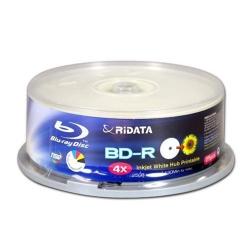 25 Ridata Blu-ray 4X BD-R 25GB Disc White Inkjet Hub