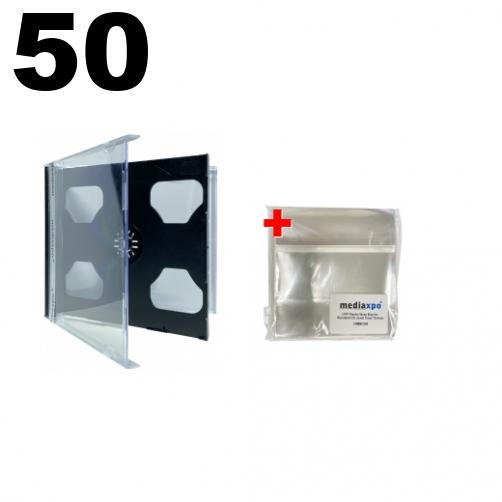mediaxpo Brand 10 Standard Clear Smart Tray Double CD Jewel Case